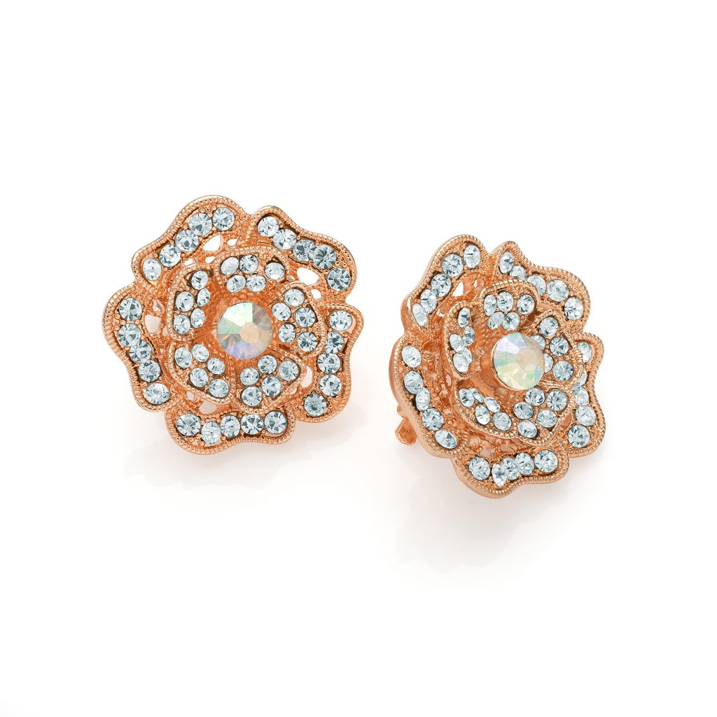 Large Rose gold coloured and crystal flower shaped earrings - Clip on - ER30383