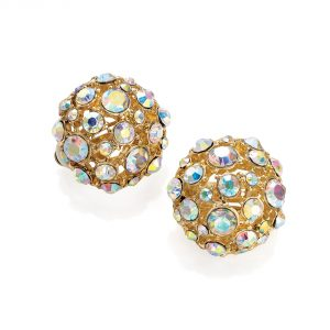 Gold coloured crystal round earrings - Clip on