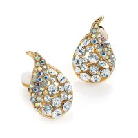 Gold coloured crystal tear drop shaped earrings ER30527