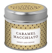 Caramel Macchiato scented candle in a tin