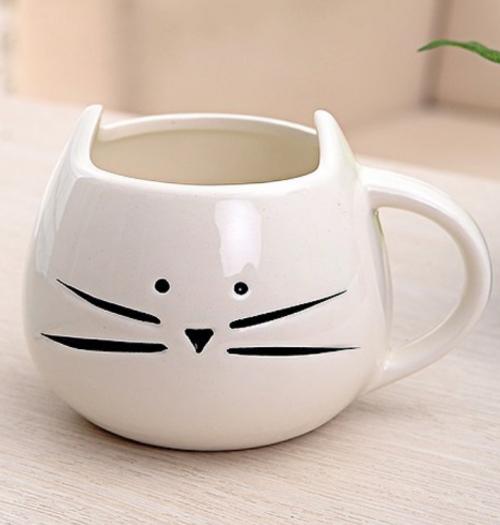 white cat mug