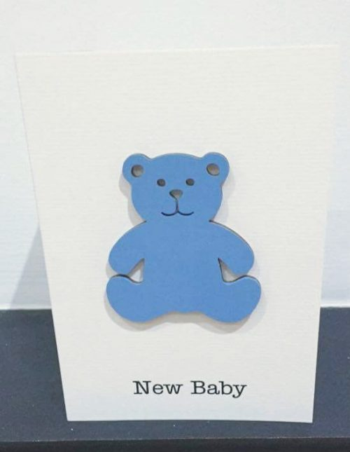 New baby boy - wooden bear card