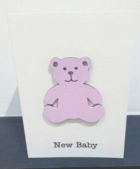 New baby girl - wooden bear card
