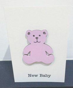 New baby girl - wooden bear card