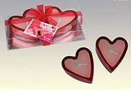 Red heart glass tealights
