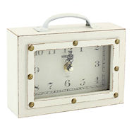 Vintage suitcase clock cream wood 17cm