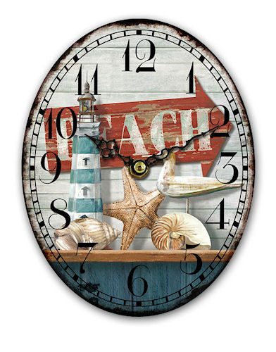Wooden oval beach clock - 15x18cm