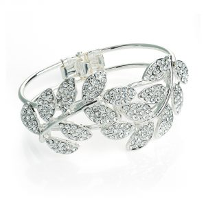 Silver coloured crystal leaf design hinge bangle