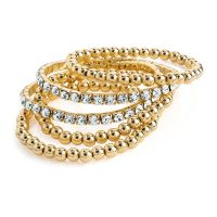 Gold colour crystal elasticated bracelets