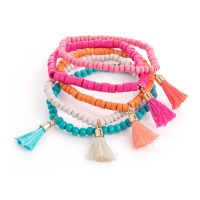 multi colour bead elasticated tassel bracelets bl30908