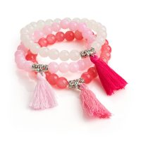 Pink tone beaded bracelets with tassel bl30977