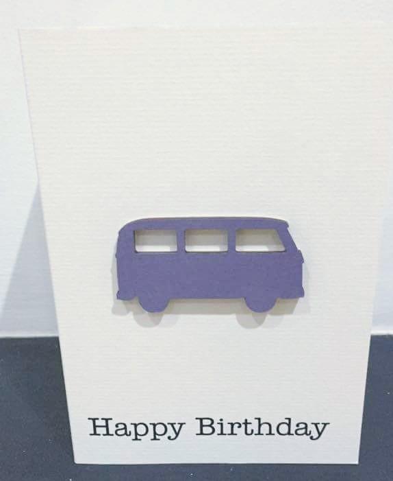 campervan - blue wood - handmade card