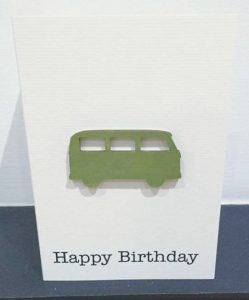 campervan - green wood - handmade card