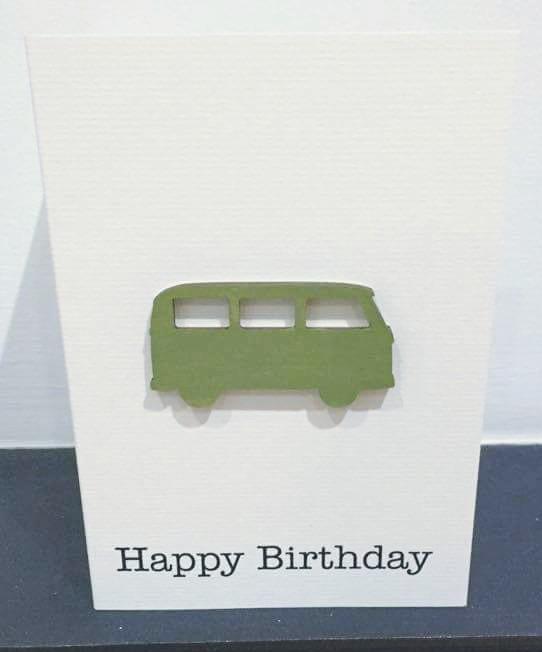 campervan - green wood - handmade card