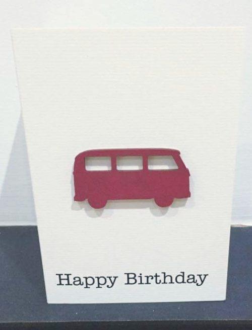 campervan - red wood - handmade card
