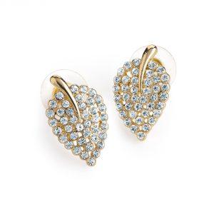 Gold colour leaf design crystal earrings er30870