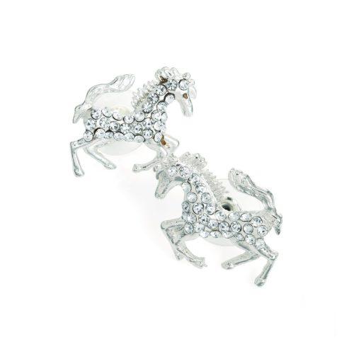 Silver colour crystal horse design earrings er30915