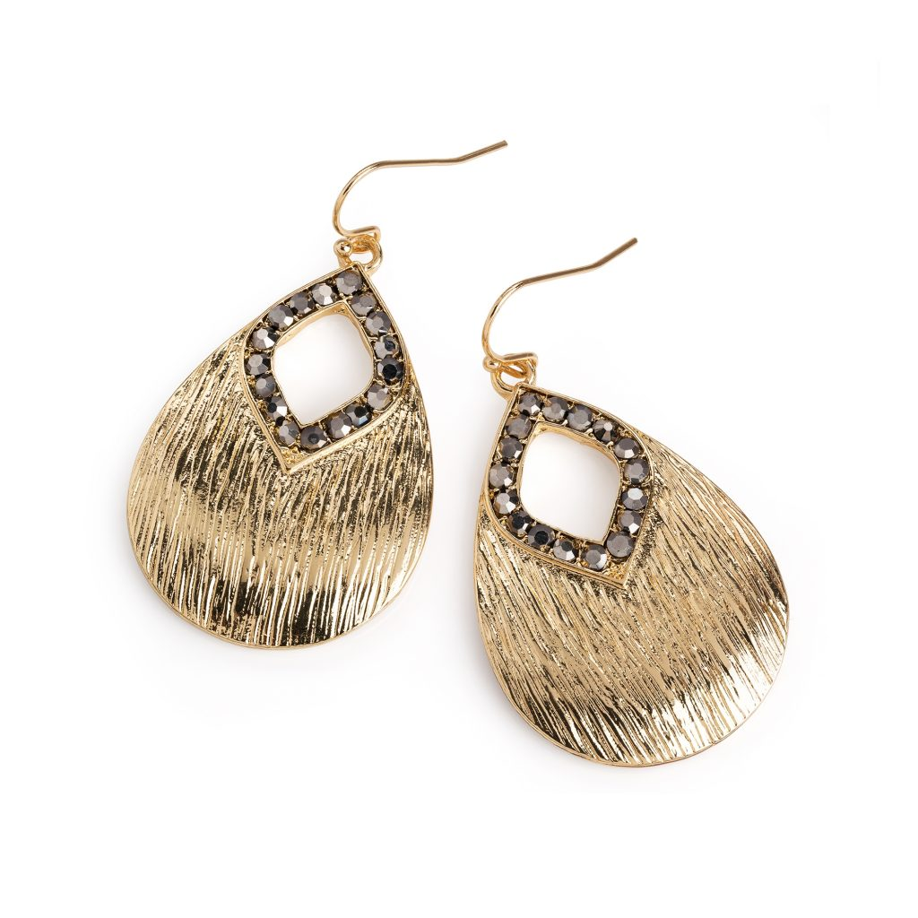Gold colour and grey crystal oval earrings