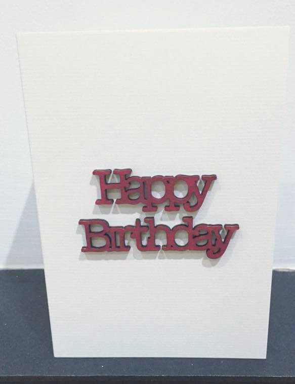 happy birthday - red wood - card