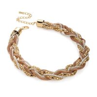 3 tone six row gold, silver and rose gold colour plaited necklace n30611