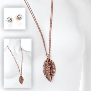 Antique Rose gold coloured leaf design necklace and earring set