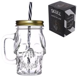 skull mason jar with straw