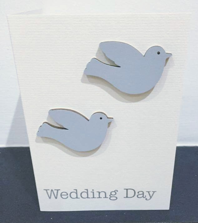 wedding day - wooden doves - card