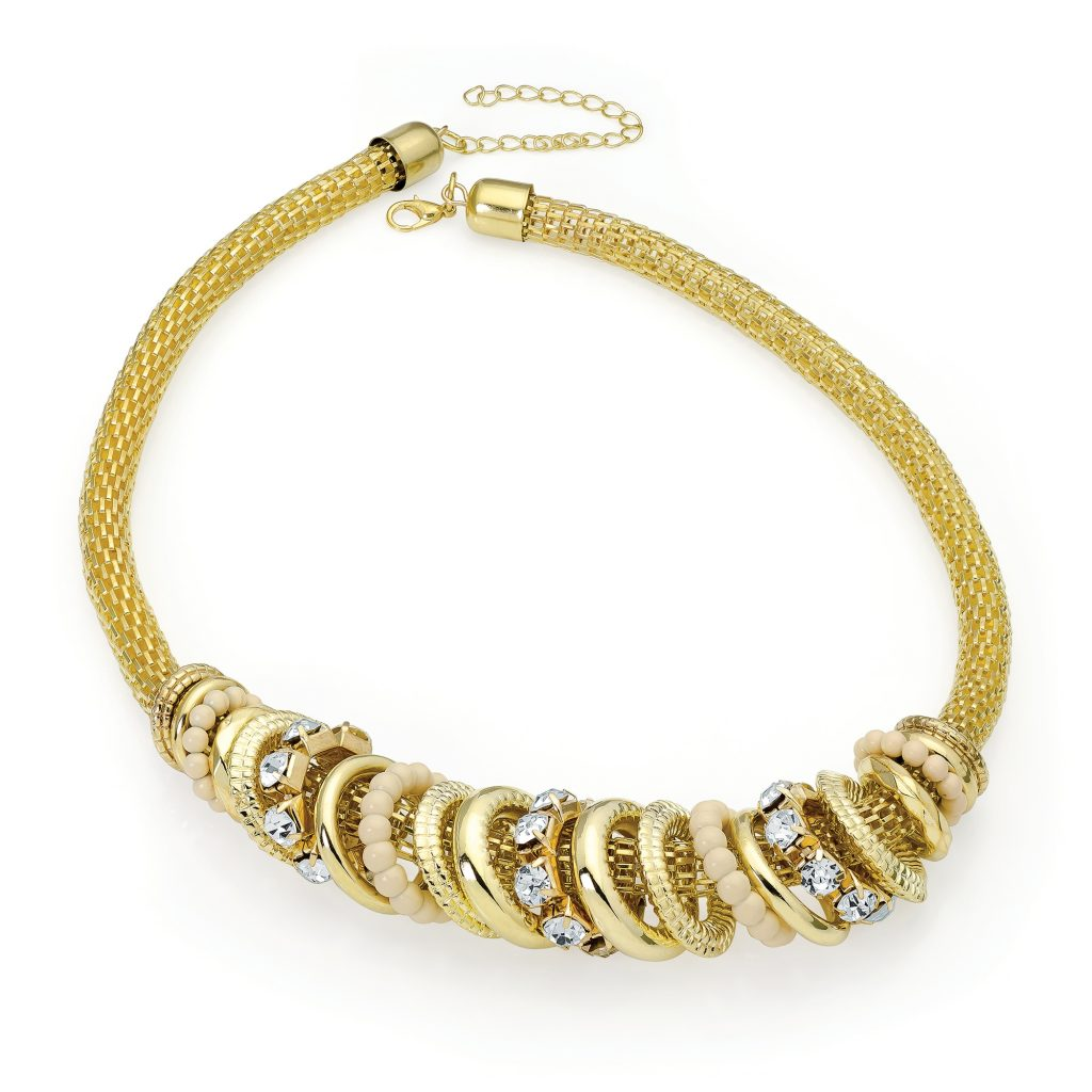 Gold colour chain necklace with crystal ring detail