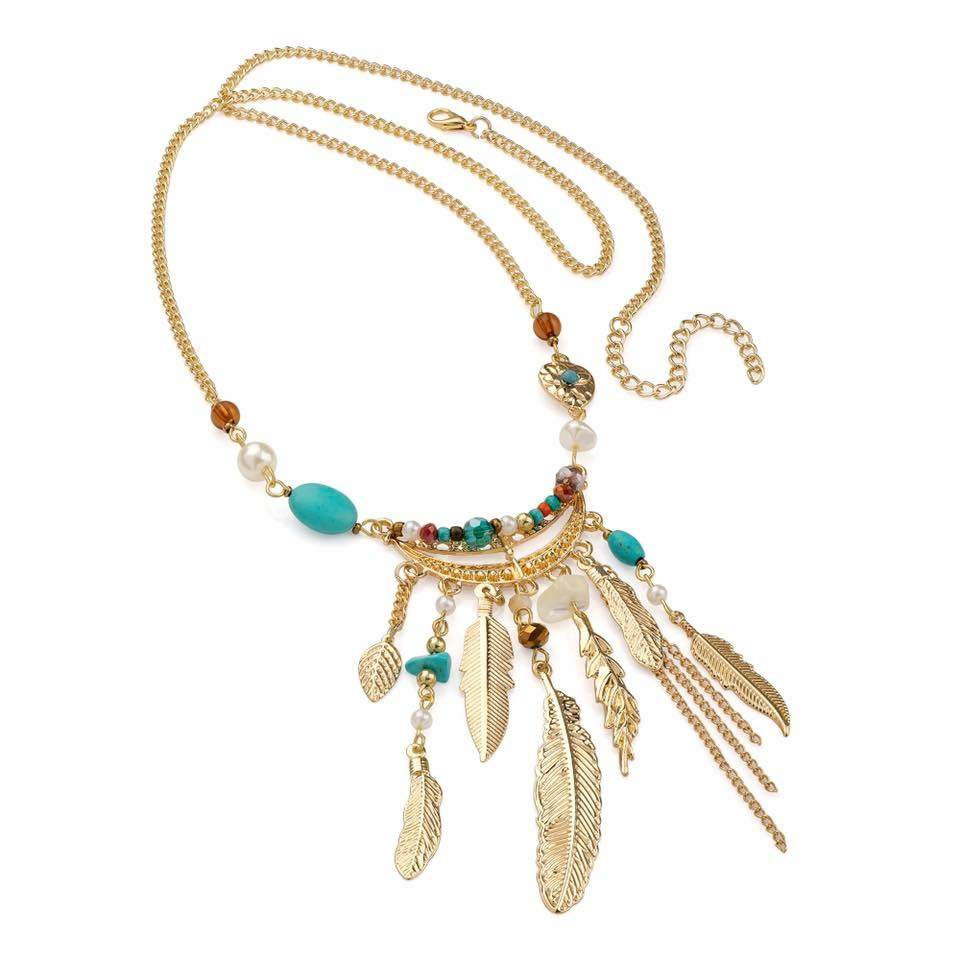 gold colour feather and beaded boho necklace