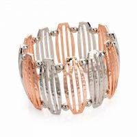 Rose gold, silver and gold coloured elasticated bracelet