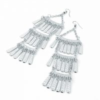 Long tassel silver colour earrings