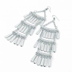 Long tassel silver colour earrings