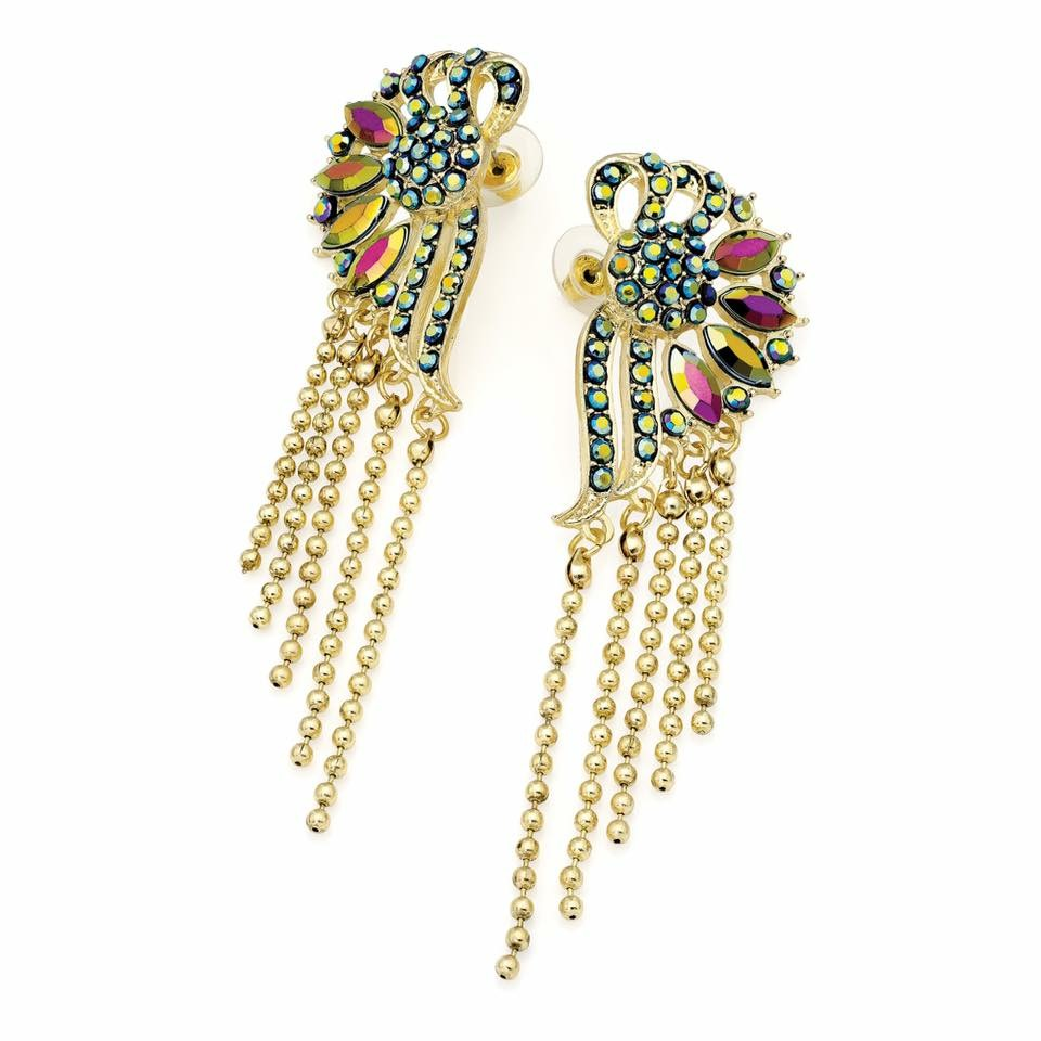 Gold colour earrings with multi coloured beads