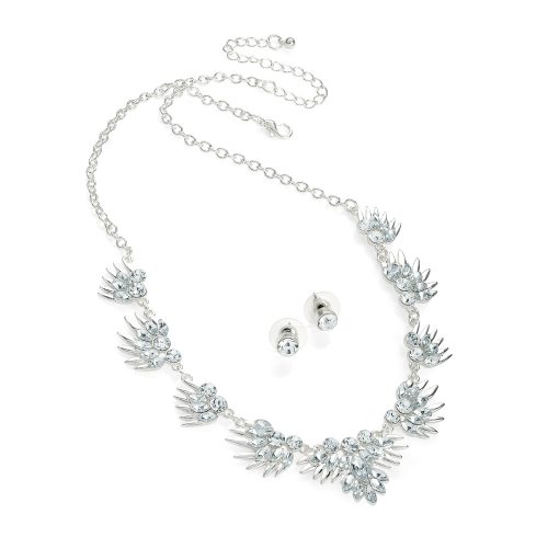 Silver colour crystal effect necklace and earring set n30624