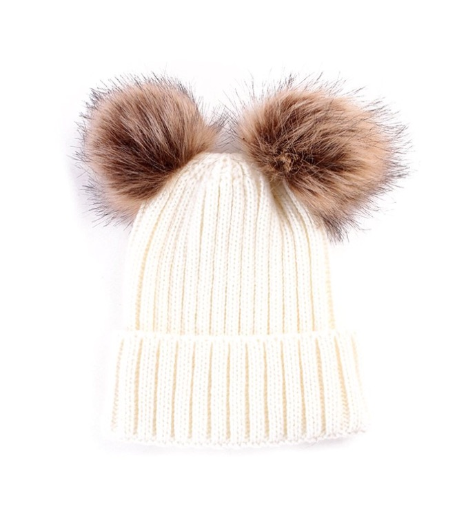Baby / Toddler Faux Fur double pom pom hats - cream