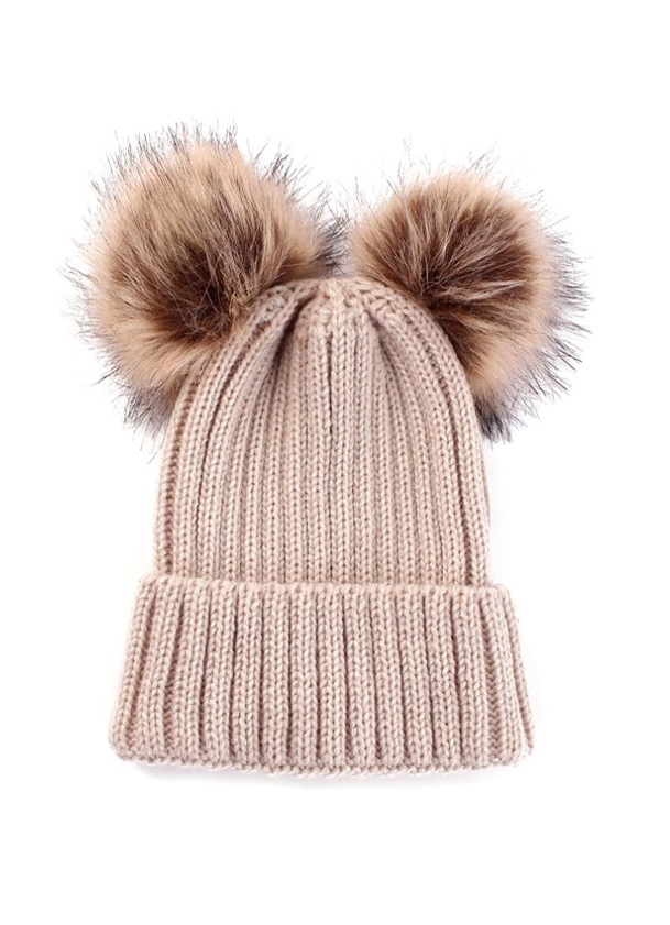 Baby / Toddler Faux Fur double pom pom hats - beige