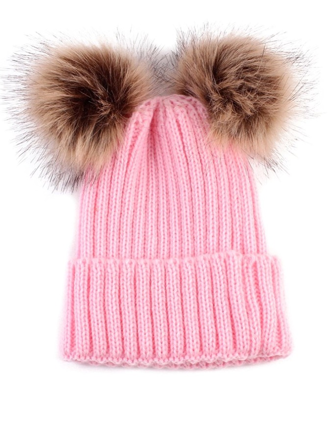Baby / Toddler Faux Fur double pom pom hats - pink