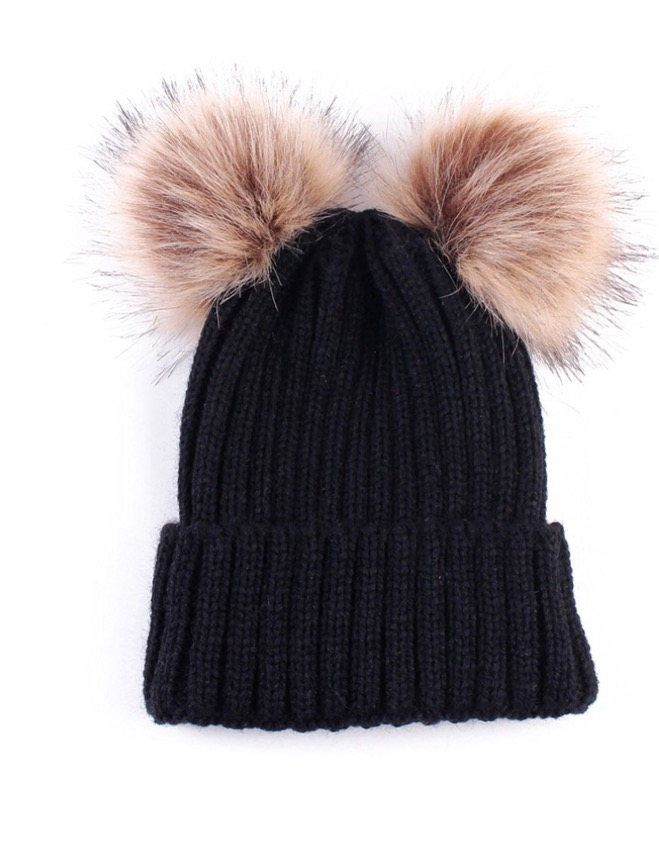 Baby / Toddler Faux Fur double pom pom hats - black
