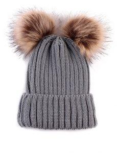 Baby / Toddler Faux Fur double pom pom hats - grey