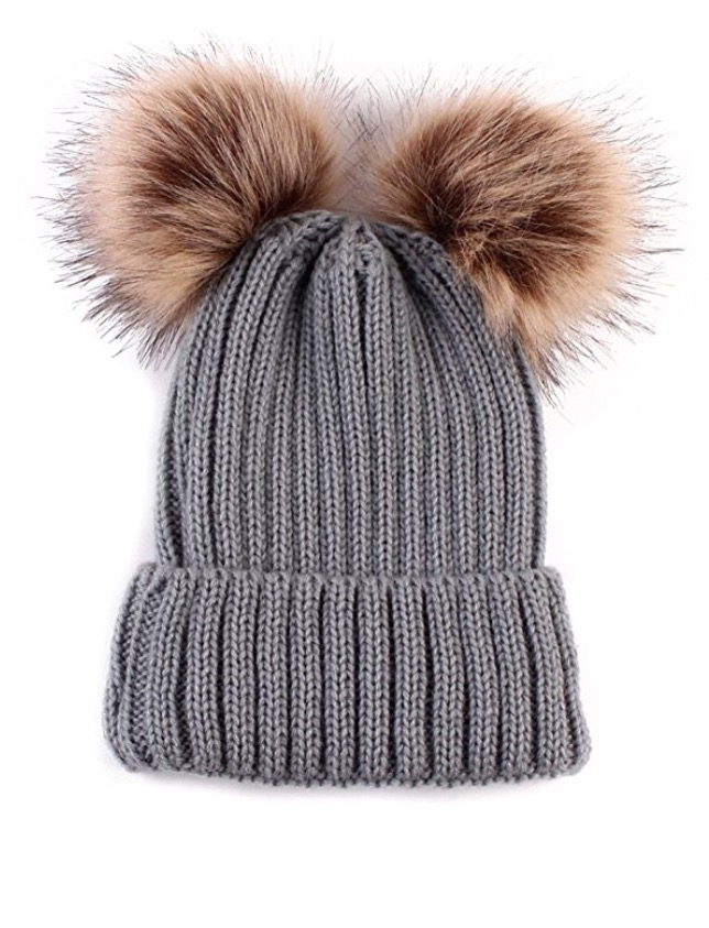 Baby / Toddler Faux Fur double pom pom hats - grey