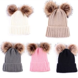 Baby / Toddler Faux Fur double pom pom hats