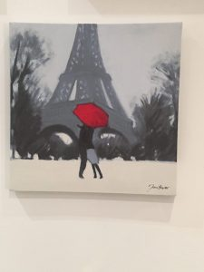 Couple at Eiffel Tower - canvas painting