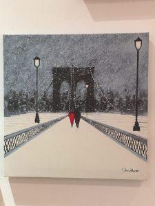 couple on a bridge - canvas painting