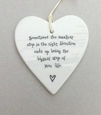 """""""sometimes the smallest step in the right direction ends up being the biggest step of your life"""" - porcelain heart"""