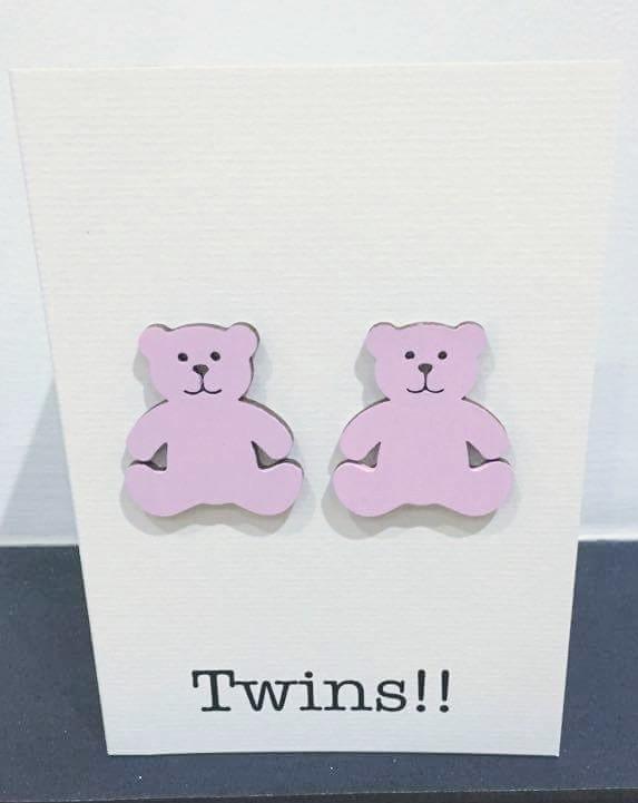 twins wooden bear card