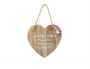 """Wooden Christmas plaque - """"Santa baby hurry down the chimney tonight"""""""