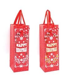 Christmas red bottle bags with gold or silver glitter
