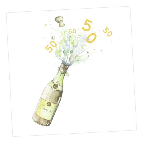 Exploding Champagne - Age 50 card - Sartorial Boutique and Gifts
