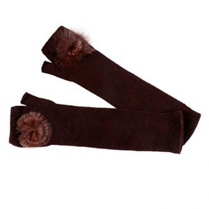 Fur fingerless long gloves brown - Sartorial Boutique and Gifts