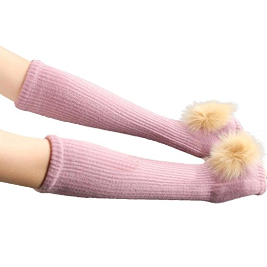 Fur fingerless long gloves pink - Sartorial Boutique and Gifts